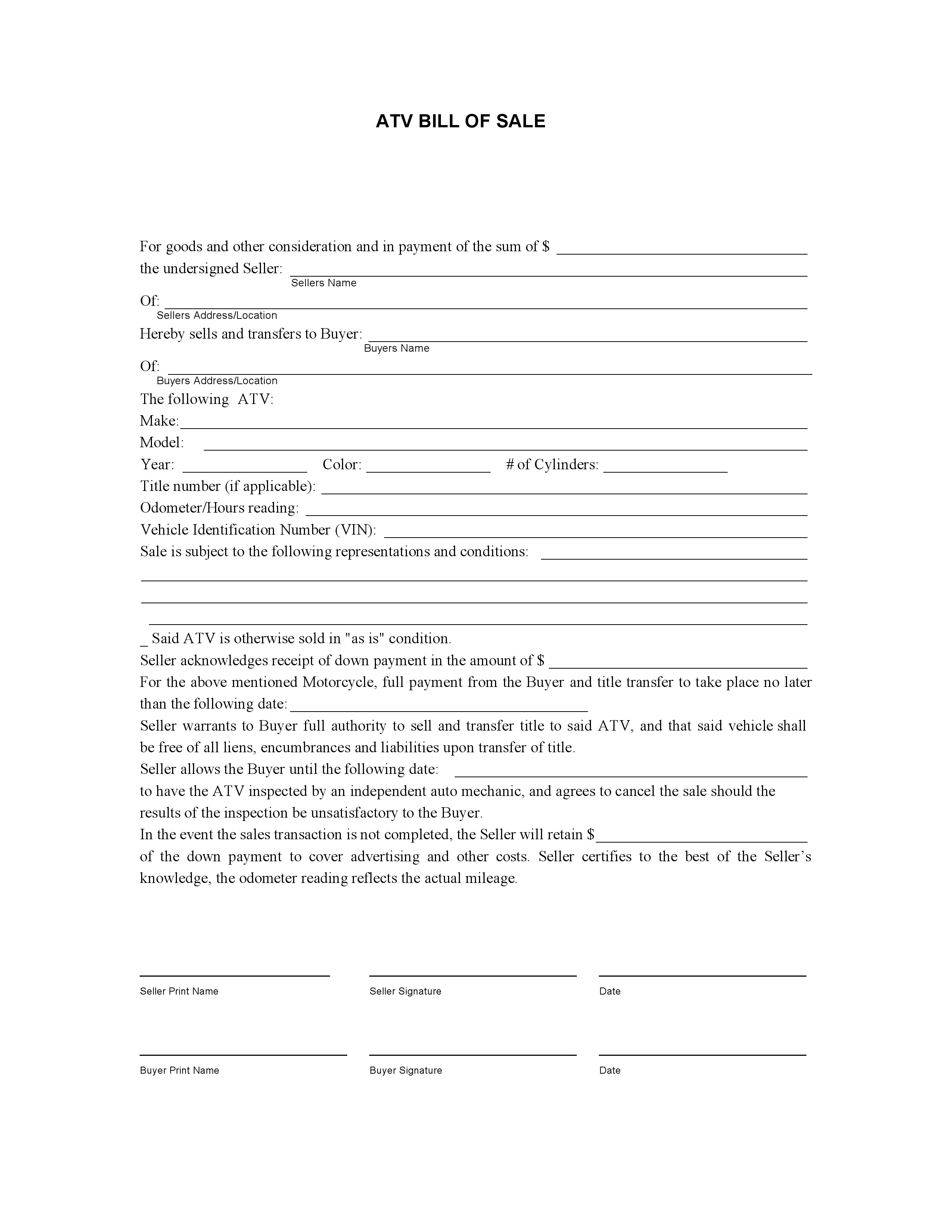 Free Atv Bill Of Sale Form Pdf Word Do It Yourself Forms