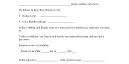 Bicycle Bill of Sale Form
