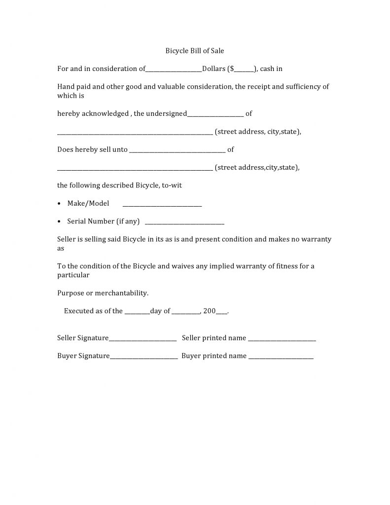 Free Bicycle Bill of Sale Form | PDF | Word | Do it Yourself Forms