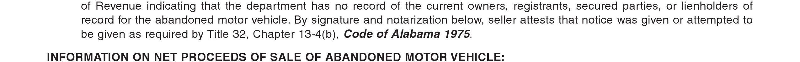 Alabama Abandoned Motor Vehicle Bill of Sale