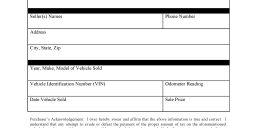 Arkansas Tax Credit Vehicle Bill of Sale