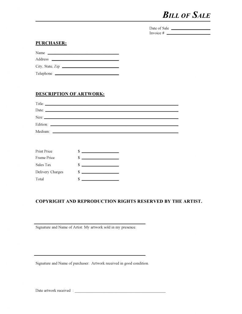 Artwork Bill of Sale Form