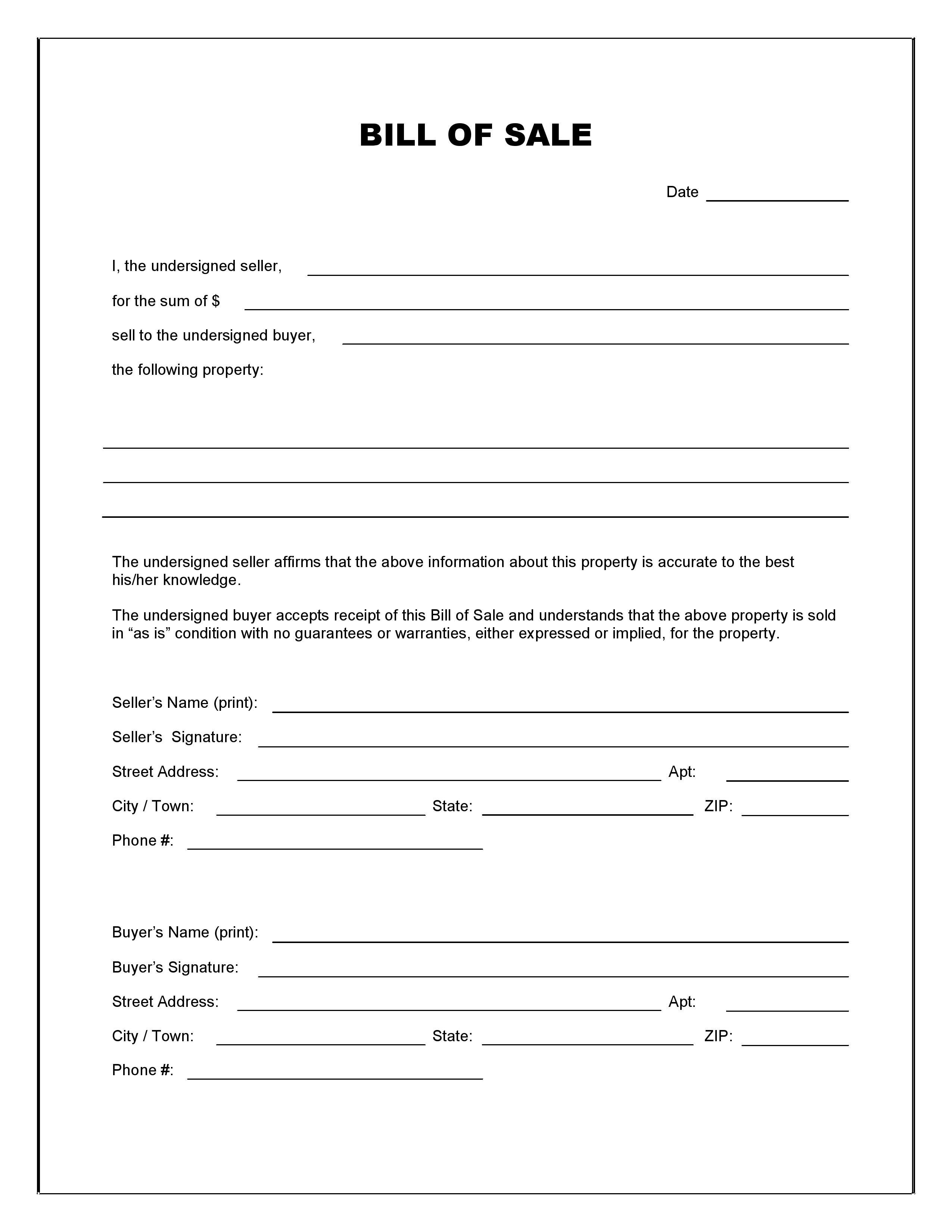 Free Blank Bill Of Sale Form Pdf Word Do It Yourself Forms Bill of sale template utah