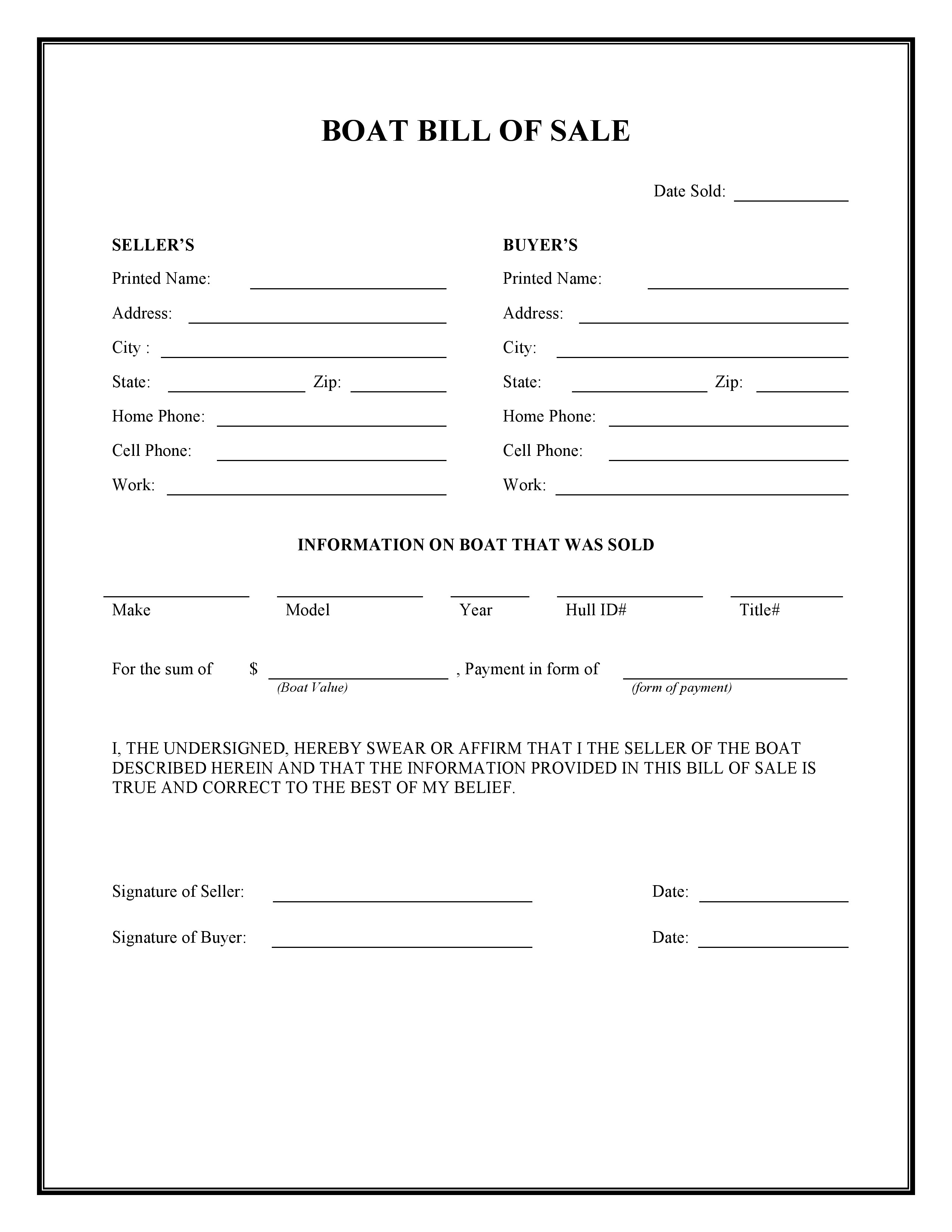 free boat bill of sale form  pdf  word  do it yourself