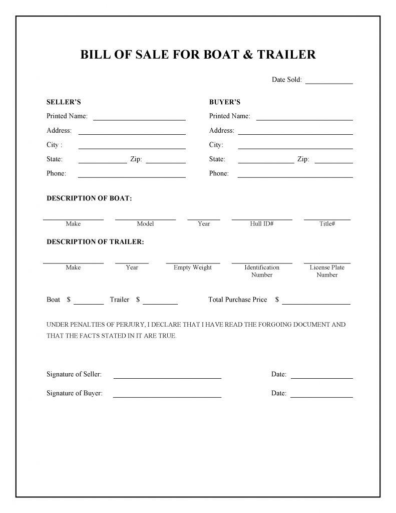 Boat & Trailer Bill of Sale Form