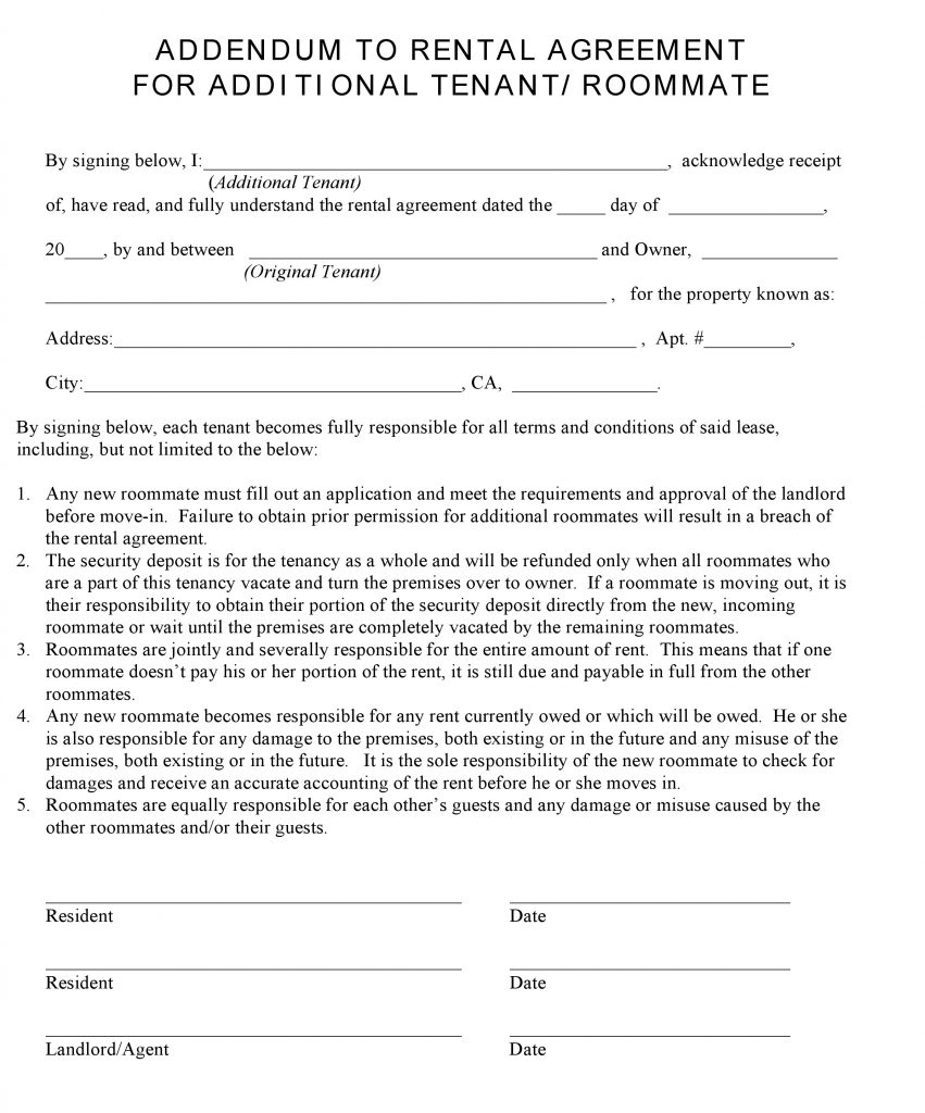 California Additional Tenant Addendum To Rental Agreement  Free Tenant Agreement
