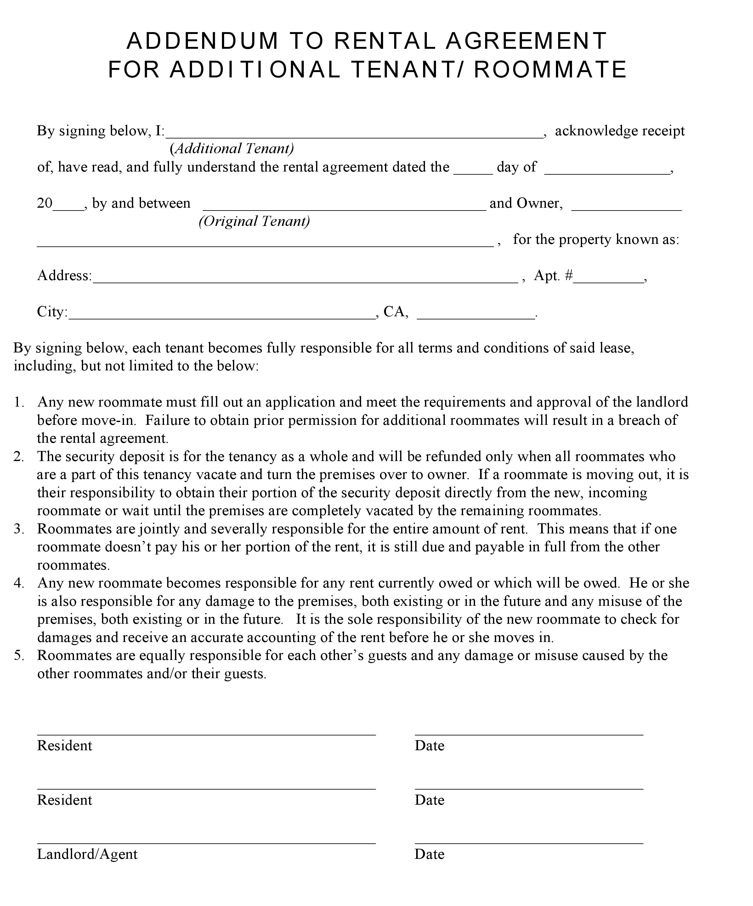 Free California Additional Tenant Addendum To Rental Agreement Pdf Word Do It Yourself Forms