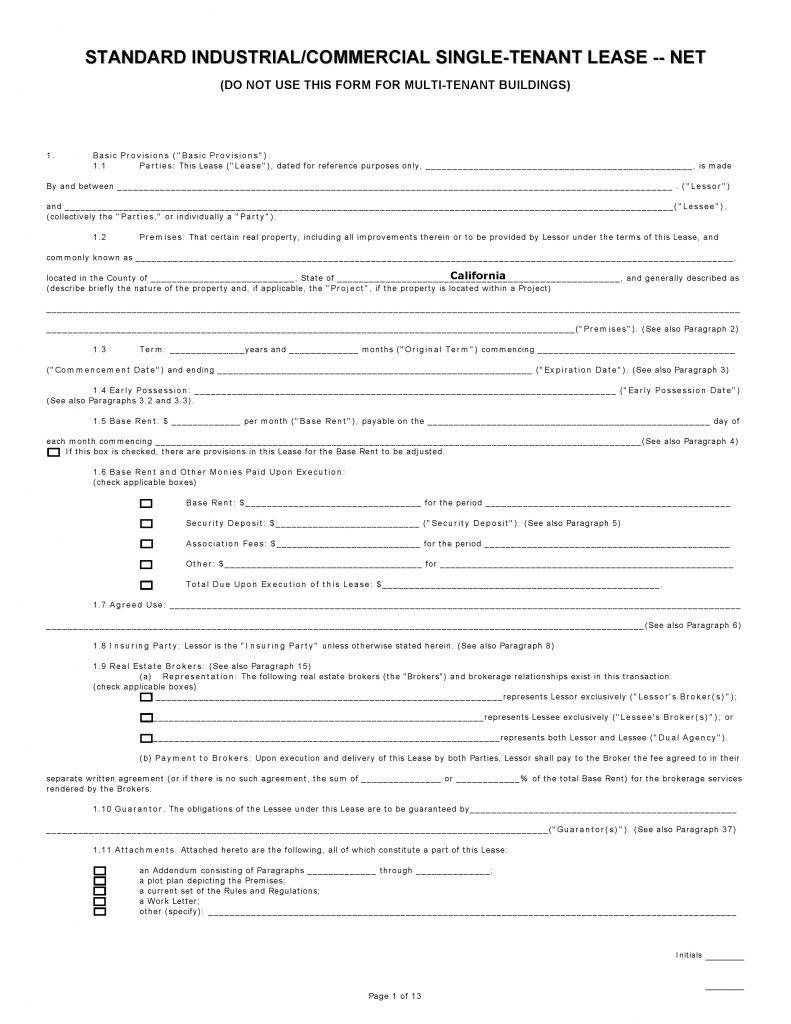 Free California Commercial Lease Agreement Single Tenant Net Pdf