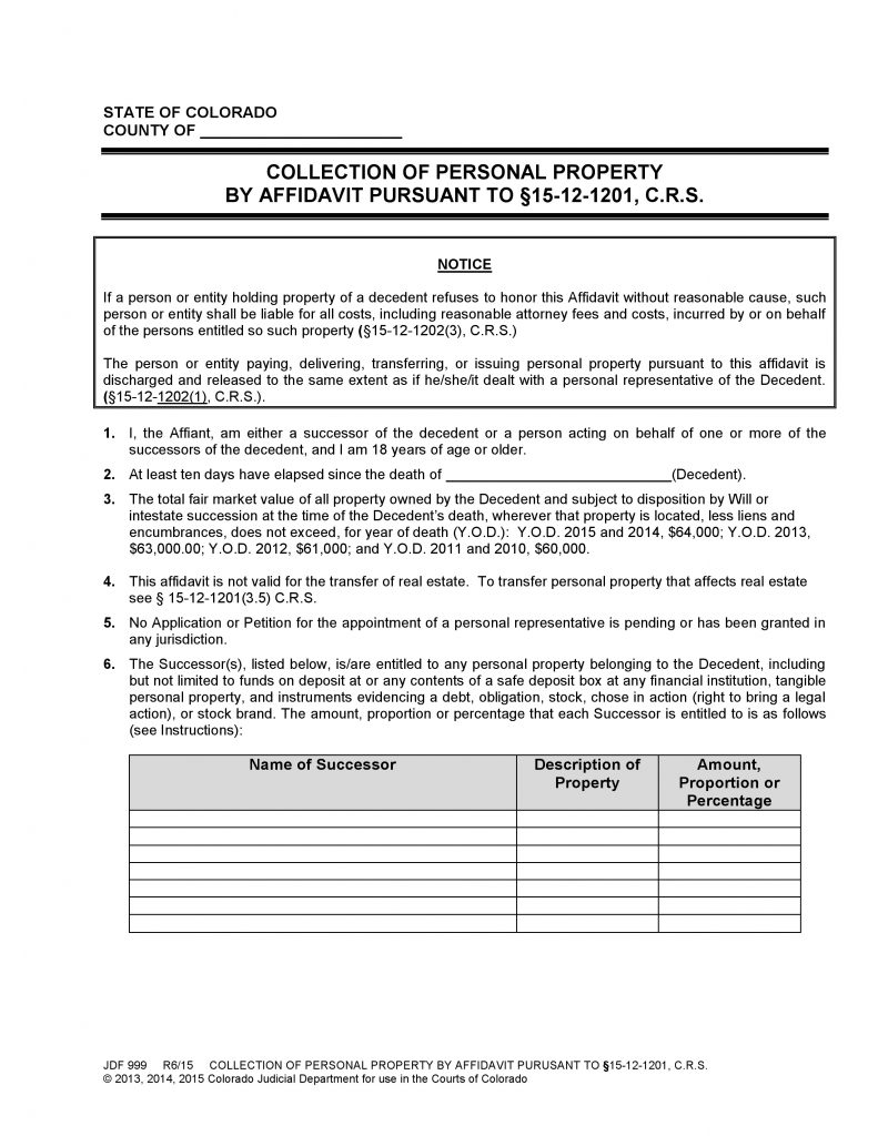Colorado Collection of Personal Property by Affidavit (Form JDF 999)