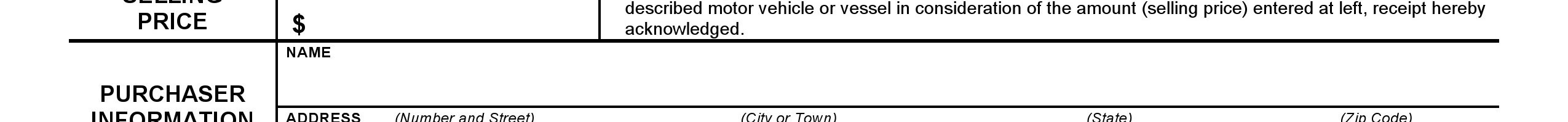 Connecticut Vehicle Bill of Sale Form
