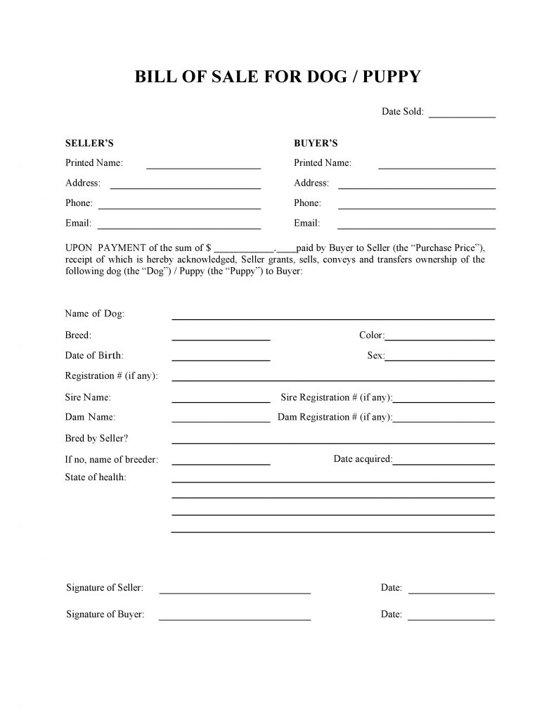 free dog or puppy bill of sale form pdf word do it yourself forms