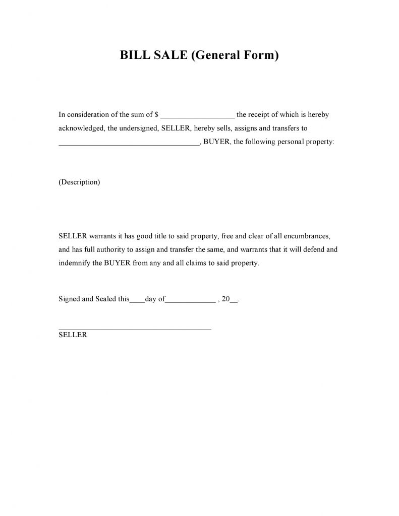 free general bill of sale form pdf word do it yourself forms