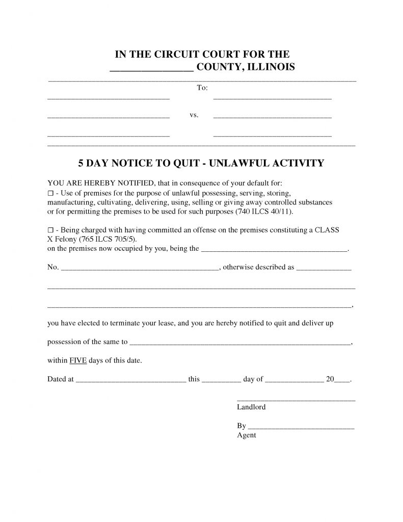 Free Illinois 5 Day Notice To Quit Form Unlawful