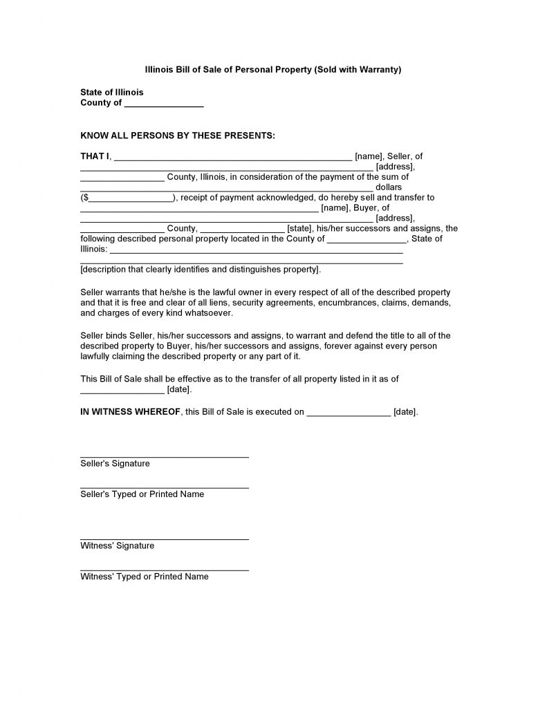 Illinois Bill of Sale of Personal Property