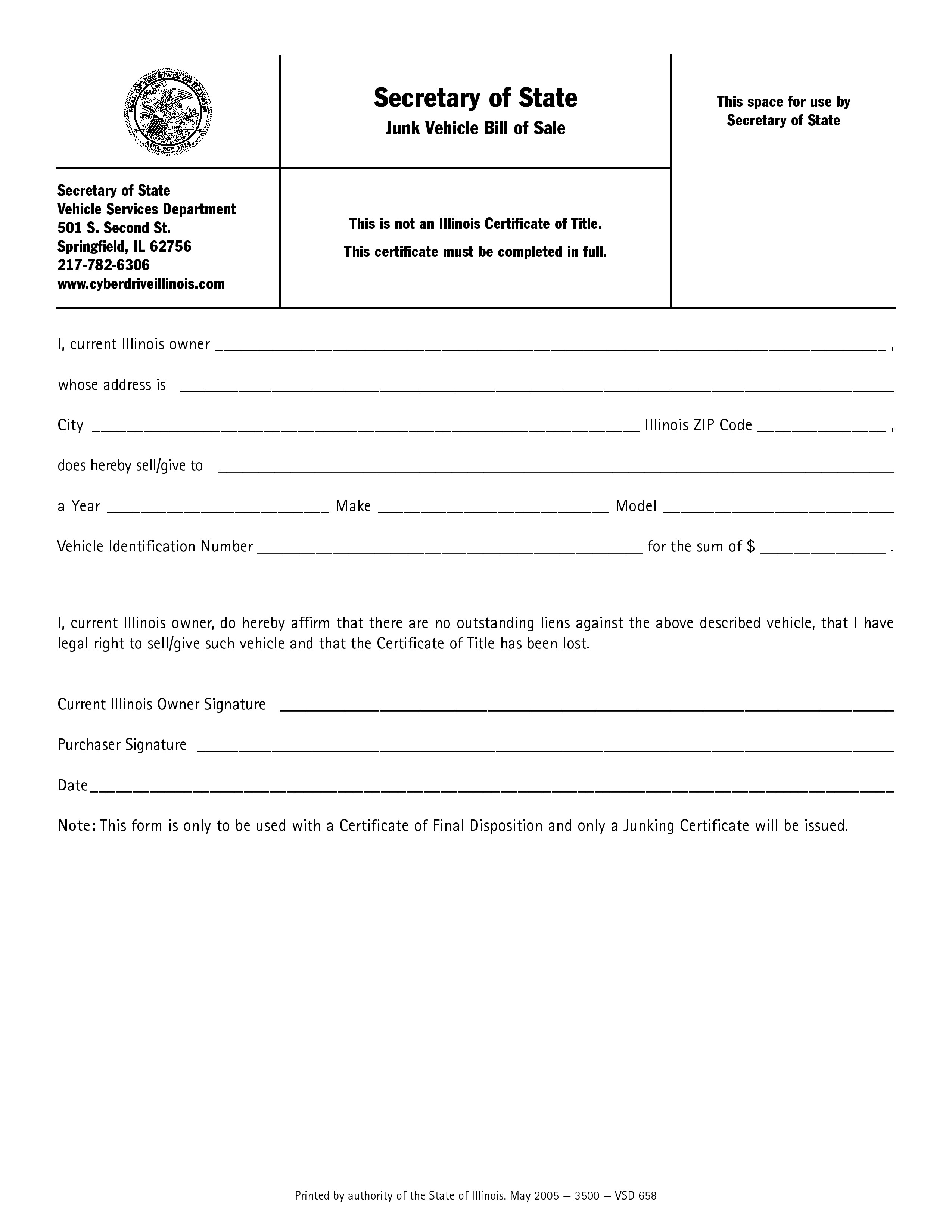 free illinois junk vehicle bill of sale form pdf word do it