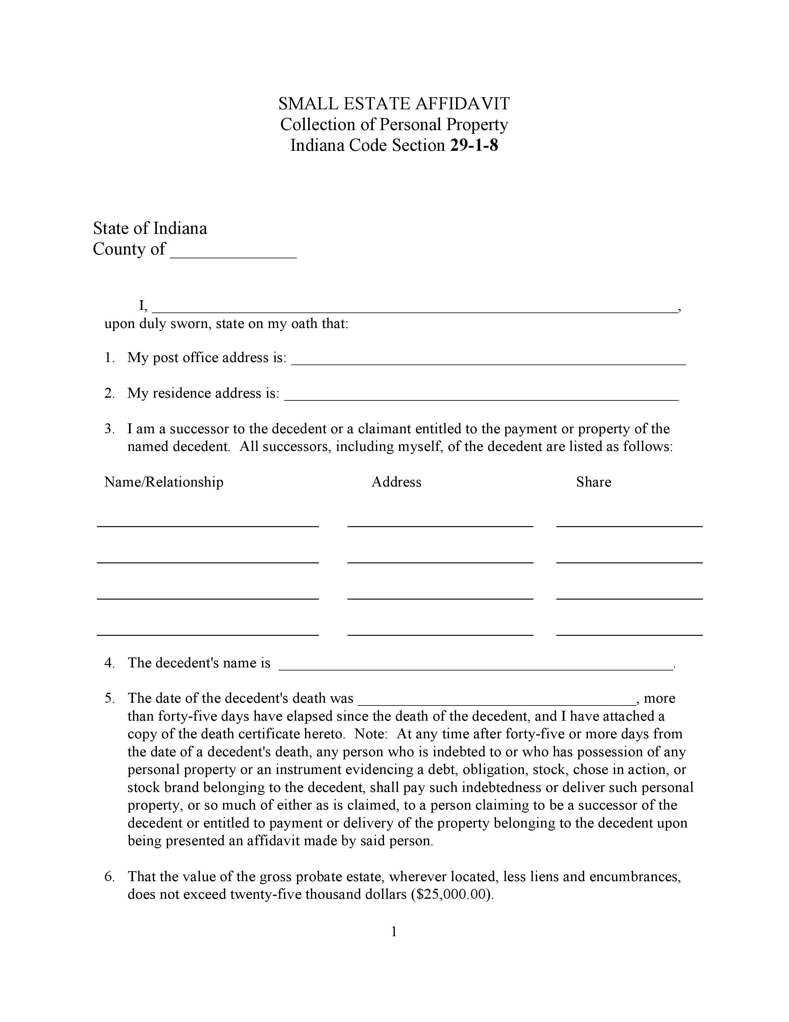 Free Indiana Small Estate Affidavit Form | PDF | Word | Do It Yourself Forms  Name Affidavit Form