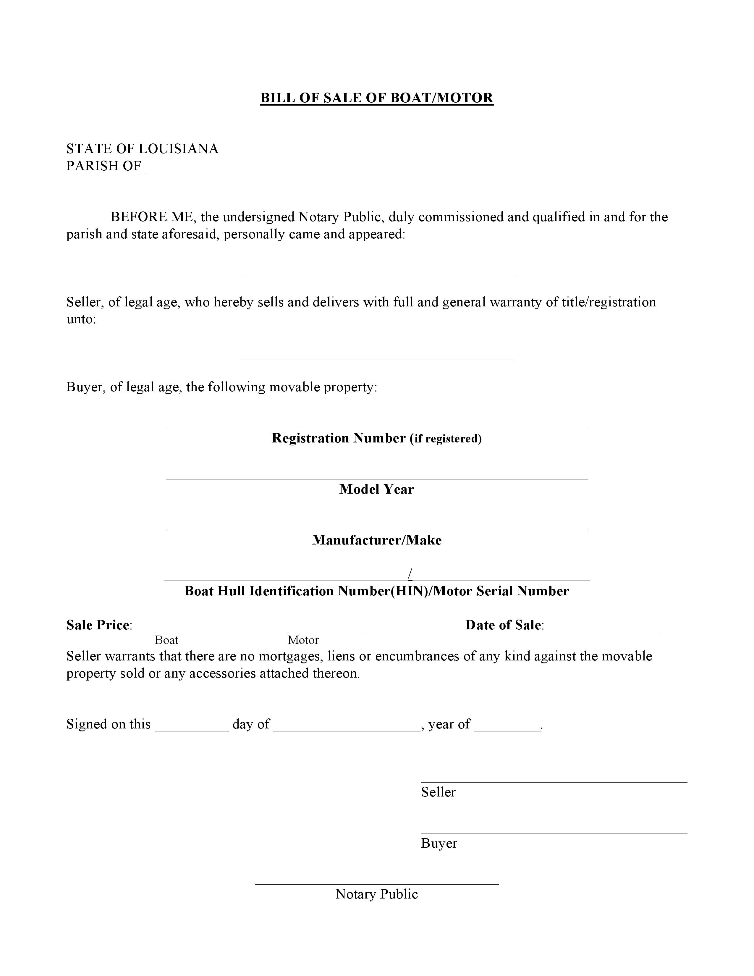 bill of sale louisiana Free Louisiana Boat Bill of Sale Form | PDF | Word | Do it Yourself ...