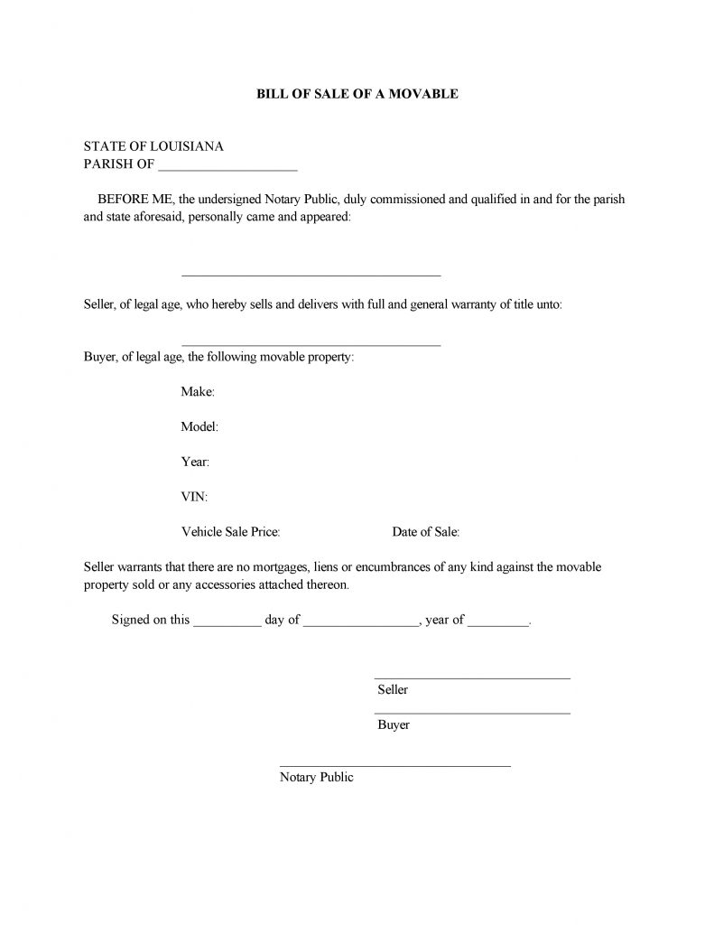 Louisiana Movable Bill of Sale Form