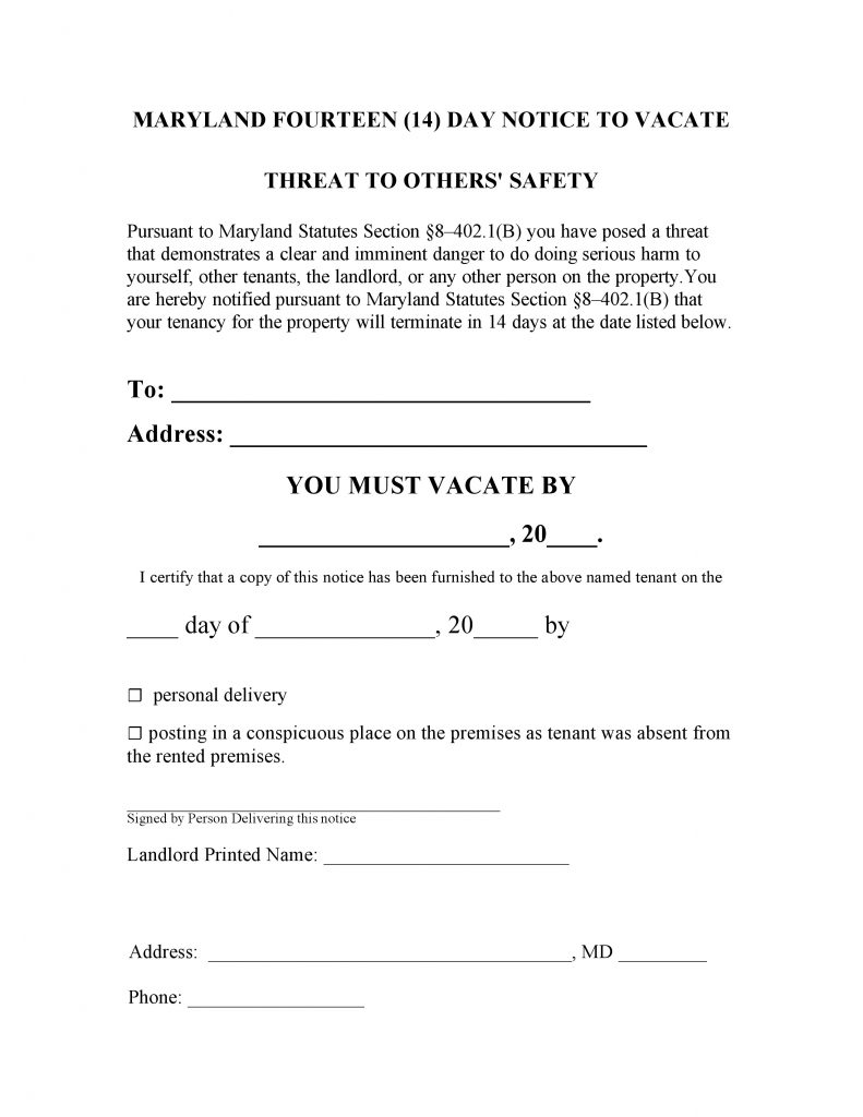 free maryland 14 day notice to quit threat to others pdf word