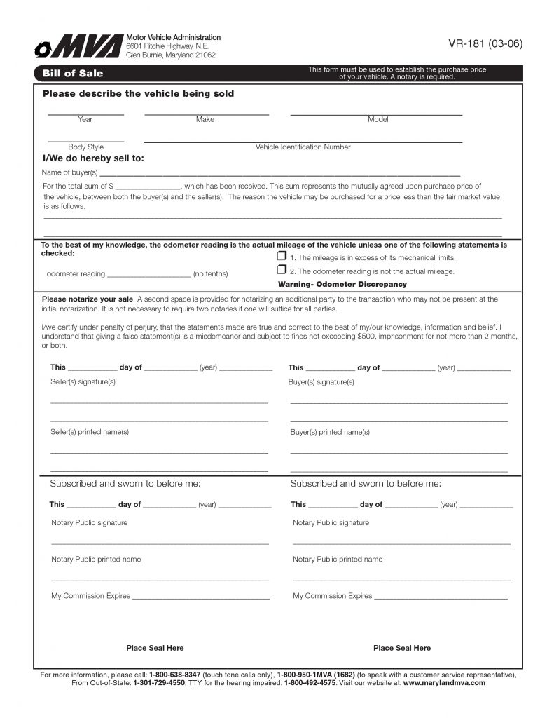 Maryland Motor Vehicle Bill of Sale Form