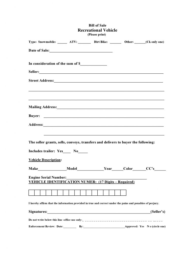 Free Massachusetts Recreational Vessel Vehicle Bill of Sale Form ...