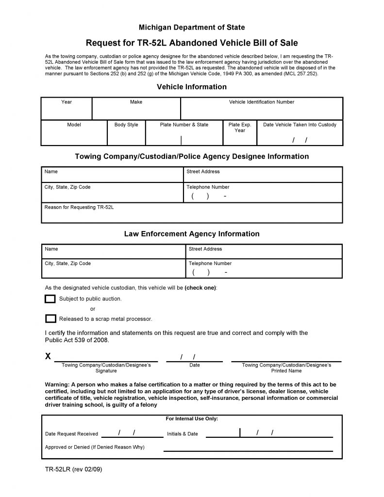 free michigan abandoned vehicle bill of sale pdf word do it