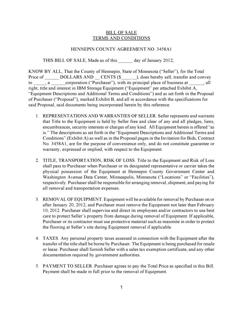 free minnesota ibm storage equipment bill of sale form pdf download