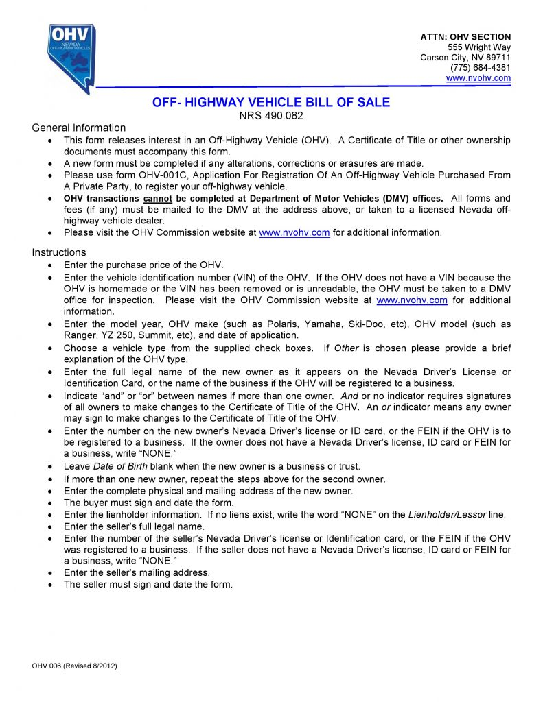 Nevada Off Highway Vehicle Bill of Sale