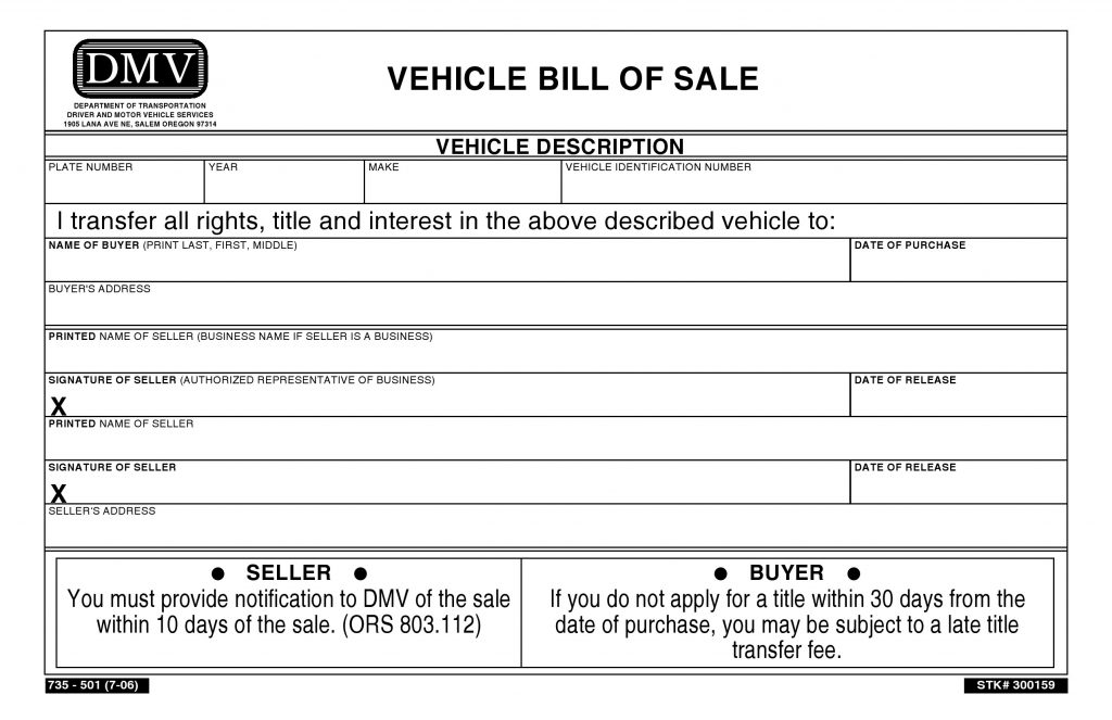 Free Oregon Vehicle Bill Of Sale  Pdf  Word  Do It Yourself Forms
