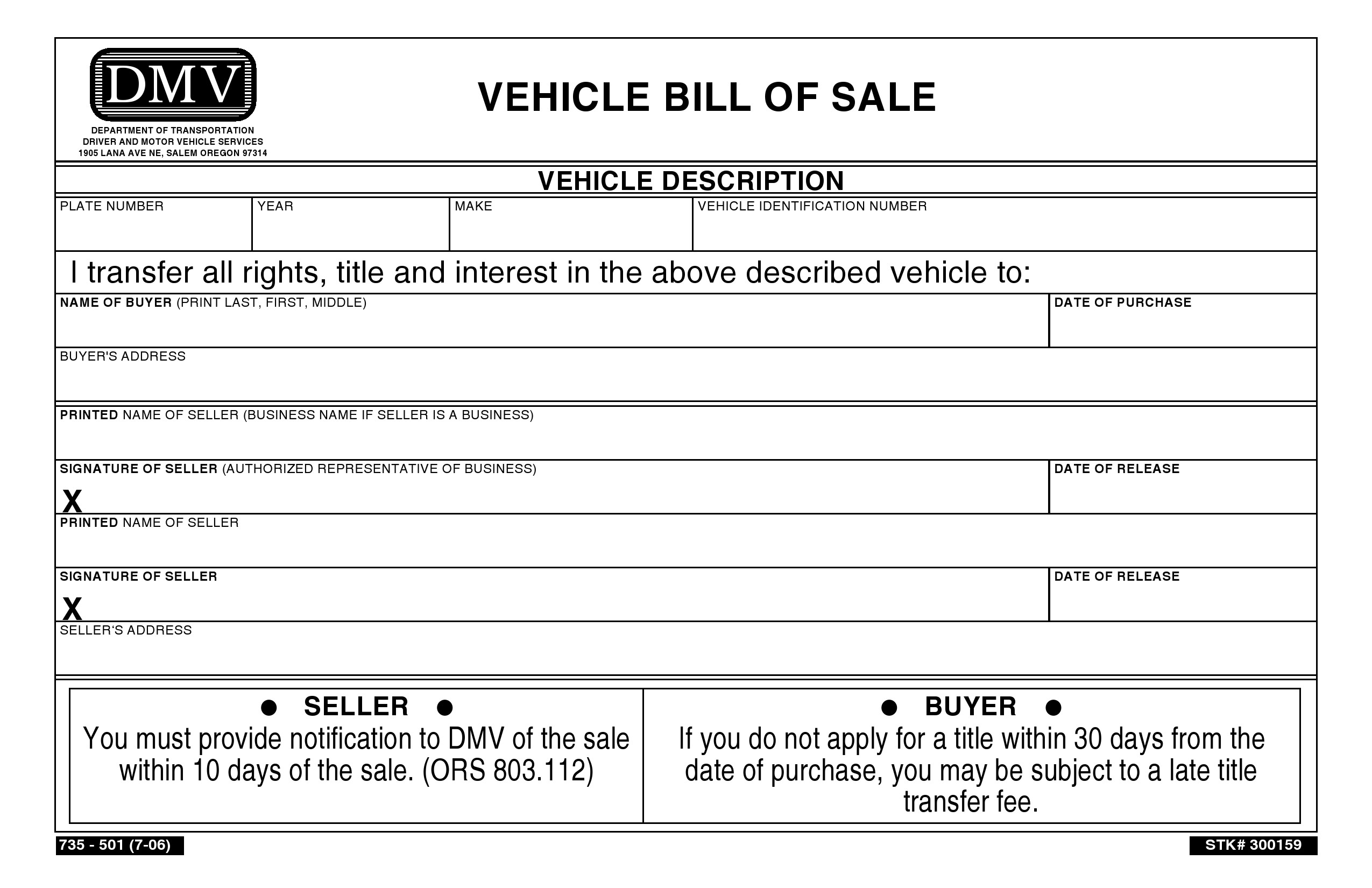 free oregon vehicle bill of sale