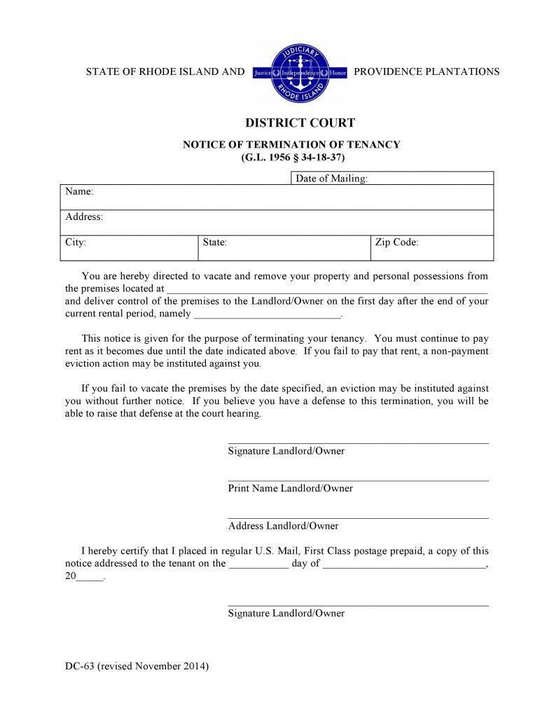 Rhode Island Notice of Termination of Tenancy