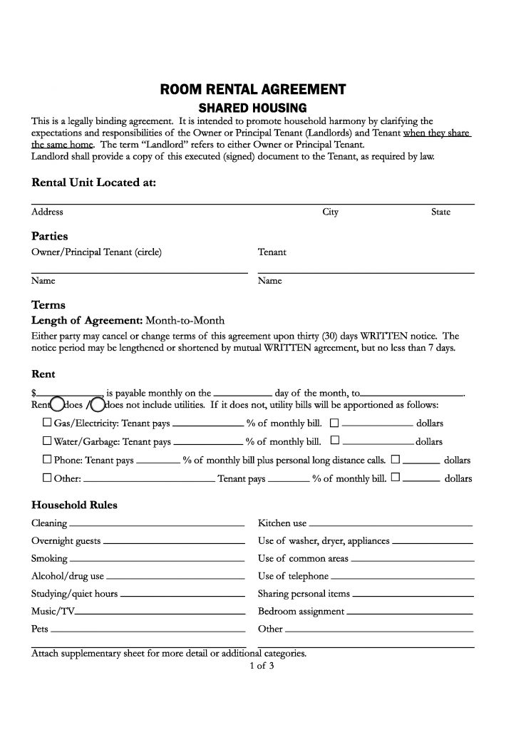Free Santa Cruz County California Room Rental Agreement