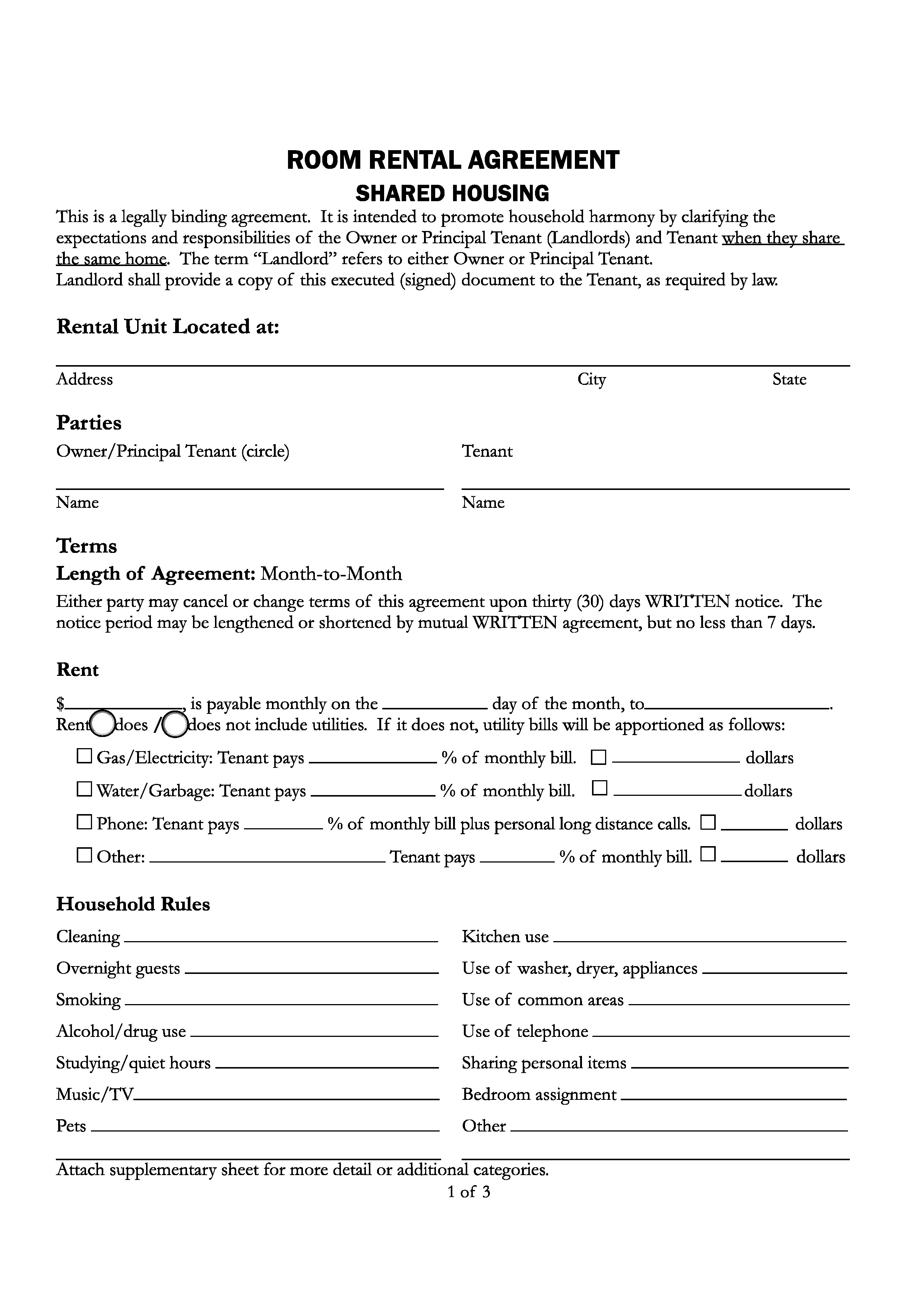 Free Santa Cruz County,California Room Rental Agreement | PDF | Word | Do  It Yourself Forms  Free Tenant Agreement