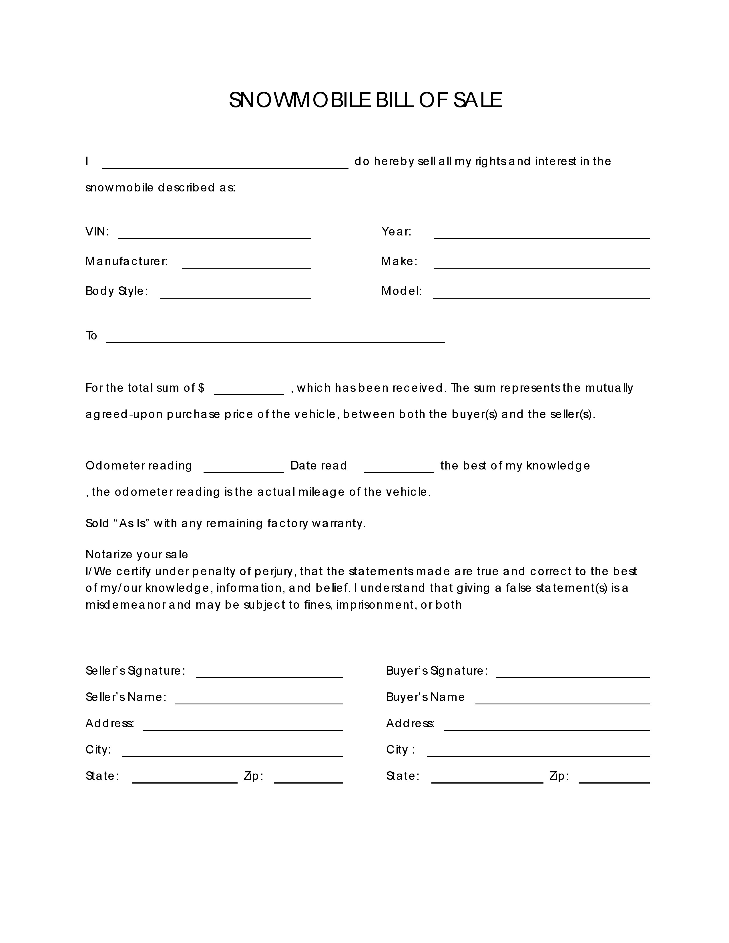 Free Snowmobile Bill Of Sale Form Pdf Word Do It Yourself Forms