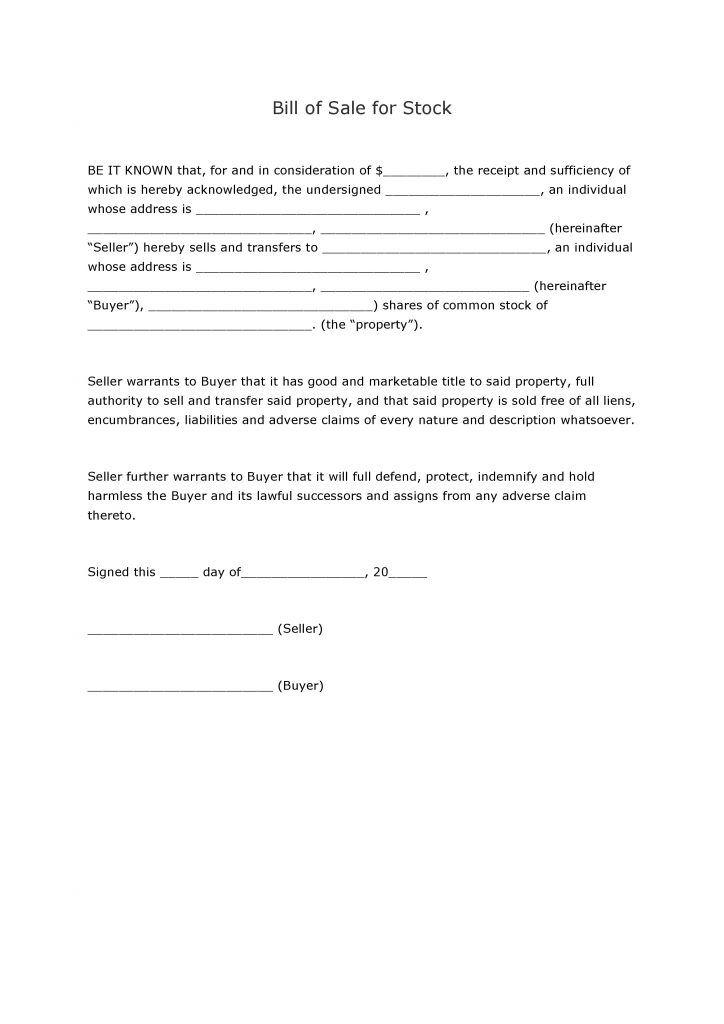 free stock bill of sale form pdf word do it yourself forms