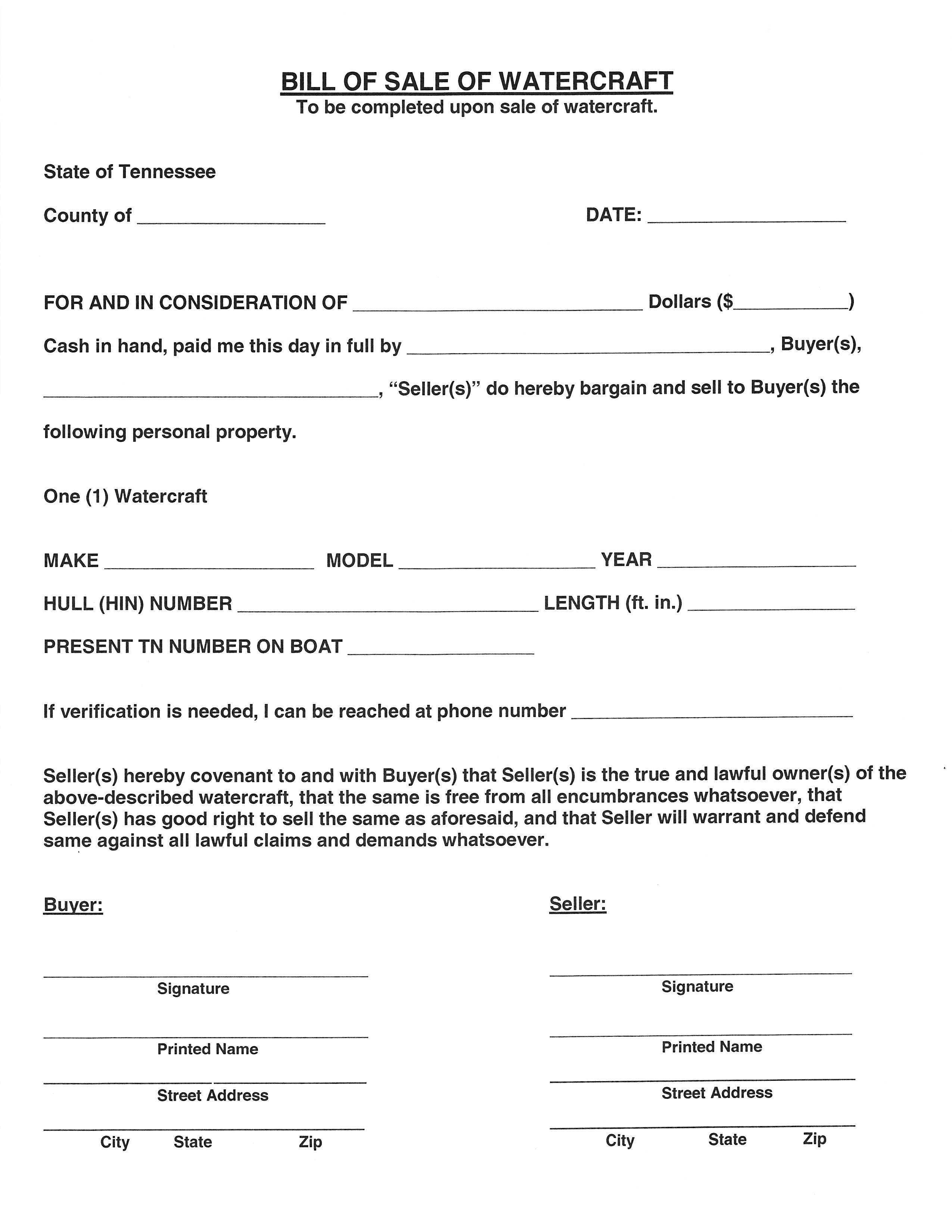 Free Tennessee Watercraft Bill Of Sale Pdf Word Do It Yourself Forms Tennessee bill of sale for trailer