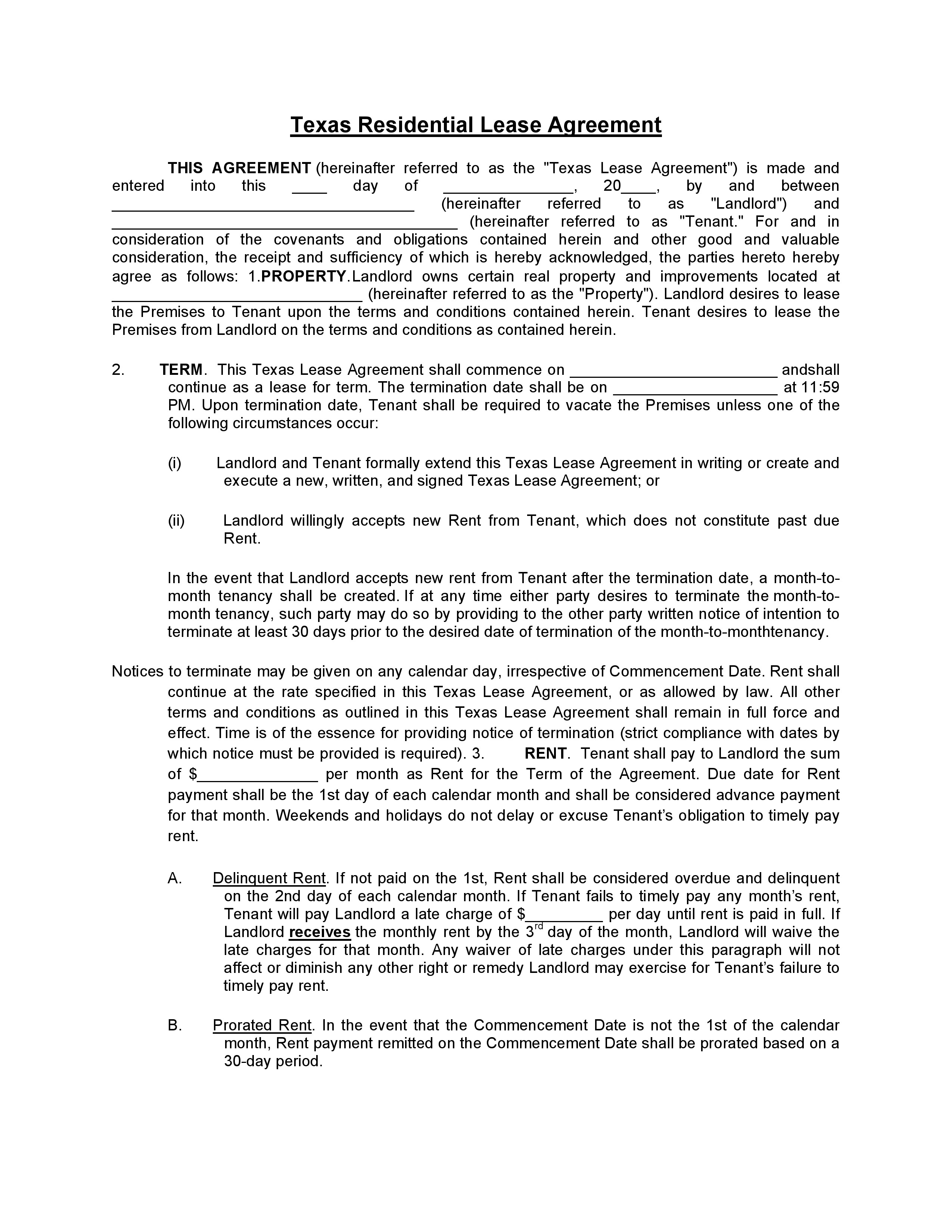 Free Texas Residential Lease Agreement Pdf Word Do It Yourself