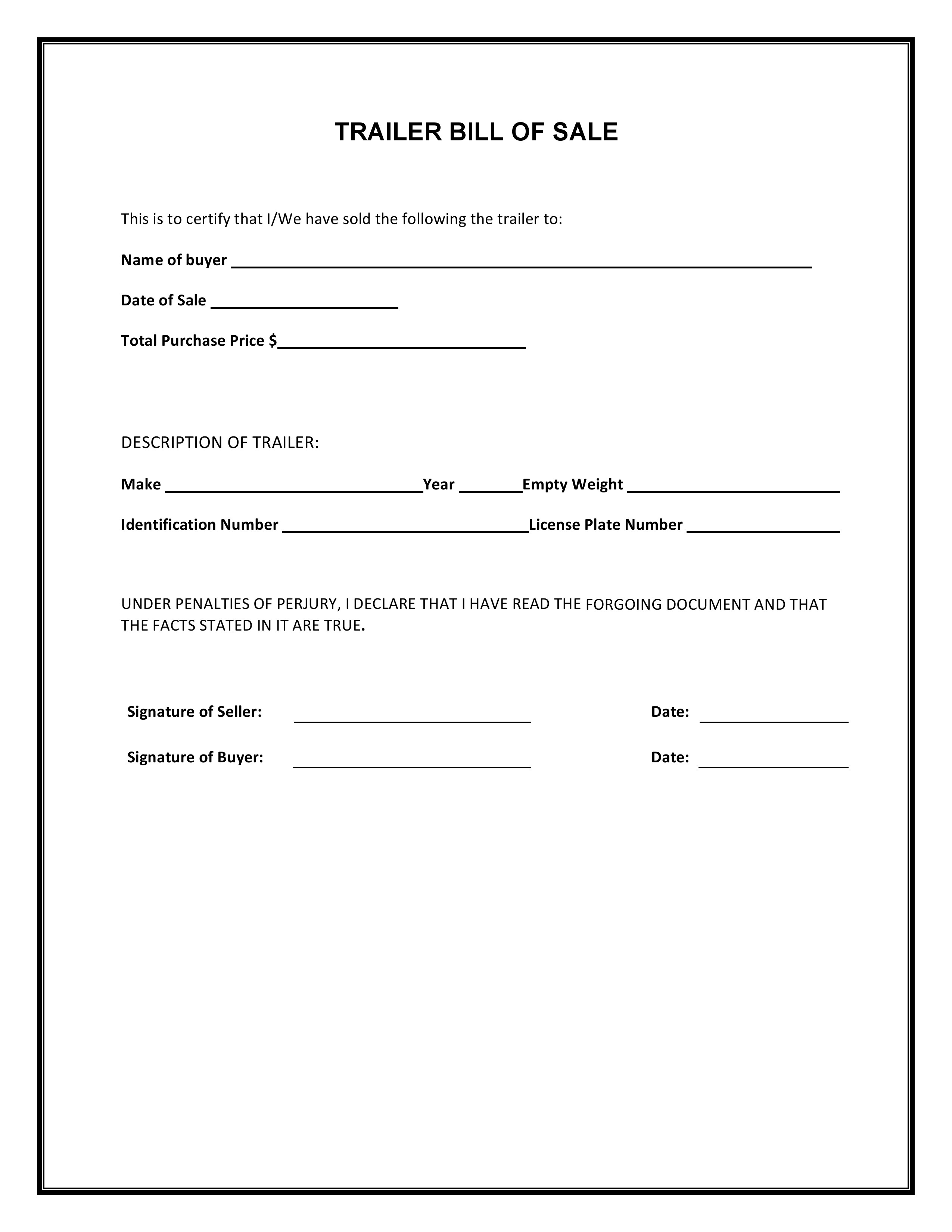 Free Trailer Bill Of Sale Form Pdf Word Do It Yourself Forms