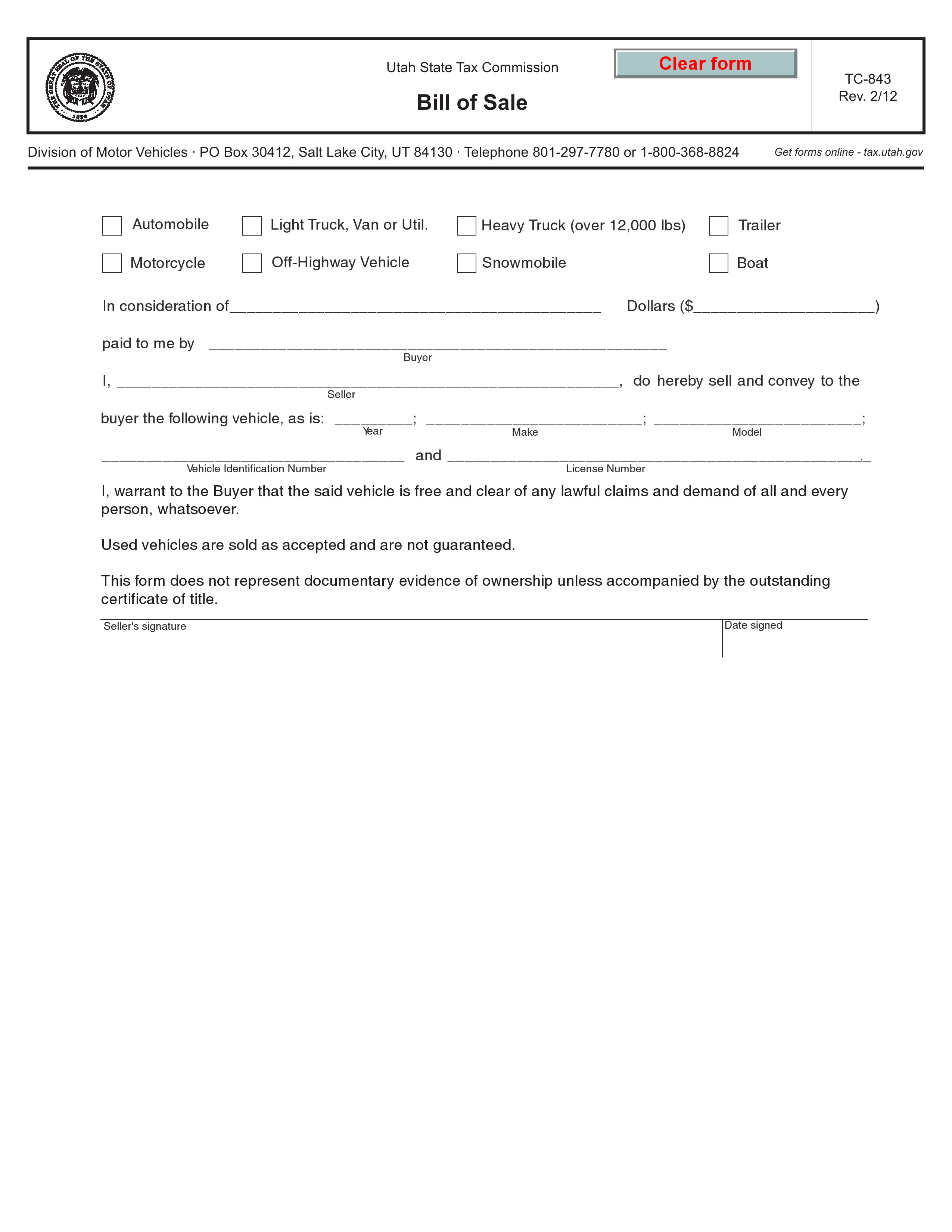 Free Utah Bill Of Sale Tc 843 Pdf Word Do It Yourself Forms Bill of sale template utah